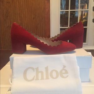 Chloe suede Lauren block heel pumps, 39 (9)